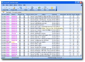Main screen showing all identified junk emails