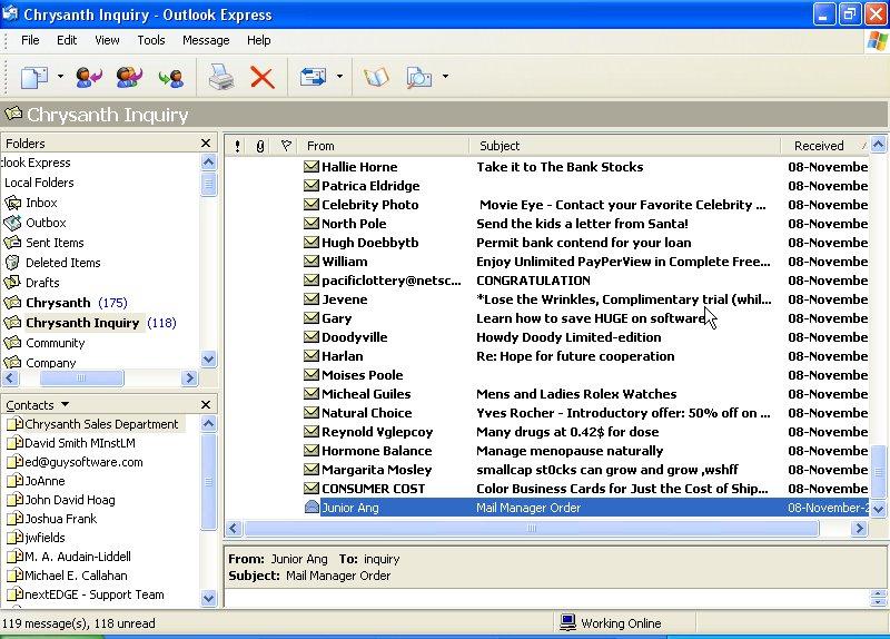 find junk mail folder outlook express
